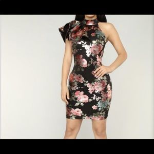 Black/Metallic Floral Midi dress fashion nova